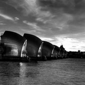 Thames Barrier Portrait BW